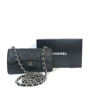 VINTAGE CHANEL Lambskin Wallet On Chain Leather Fl